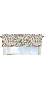 Vintage Floral Boho Window Valance - Blush Pink, Yellow, Green and White Shabby Chic Rose Flower