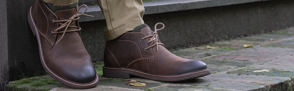 mens male man men leather business casual chukka boot lace up