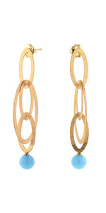 Yellow Gold Plated 925 Sterling Silver Oval Drop and Turquoise Bead Earrings…