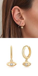 CZ Evil Eye Huggie Hoop Earrings