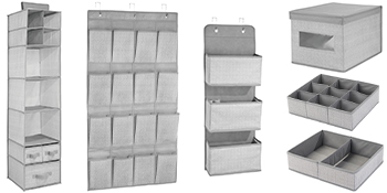closet storage hanging over door wall mount bin box basket family matching collection divided view