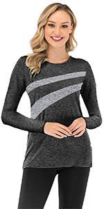black colorblock tunics for leggings activewear running shirts