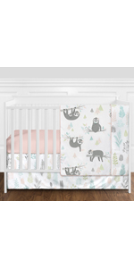 Pink and Grey Jungle Sloth Leaf Baby Girl Nursery Crib Bedding Set without Bumper