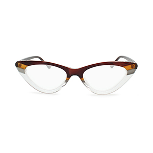 horn rimmed clear frame cat eye reading glasses color block plastic frame brown yellow gray