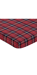 Red and Black Woodland Plaid Flannel Baby Boy Fitted Mini Portable Crib Sheet for Rustic Patch
