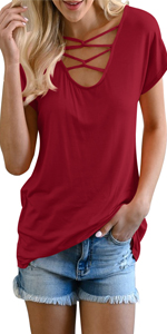 wine red t shirt for womens