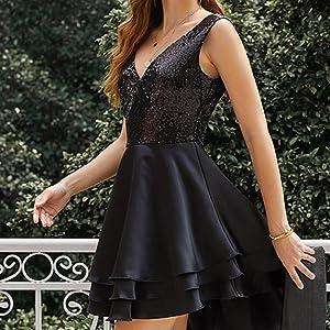 Lrady Women's Sequin Glitter V Neck Skater Mini Club Cocktail Party Swing Dress black