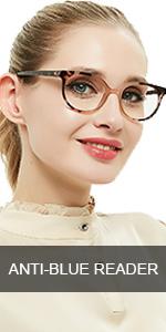 oval anti blue light reading glasses women reader