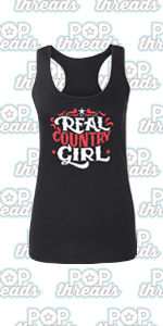 Pop Threads Country Music Western Wear Style Cowgirl Cowboy Fashion Tank Top Tee for Women