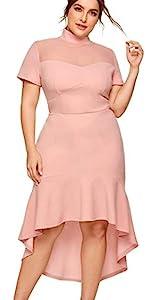 Women's Plus Size Mesh Frill Ruffle Pencil Dress