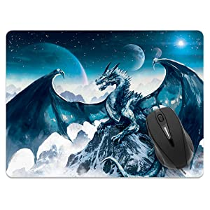 X-Large Rectangle Mousepad - Blue Ice Dragon