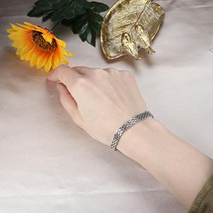cable chain bracelets silver tone