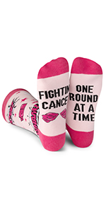 cancer, socks, fight, patient, beat, funny, pink, blue, novelty
