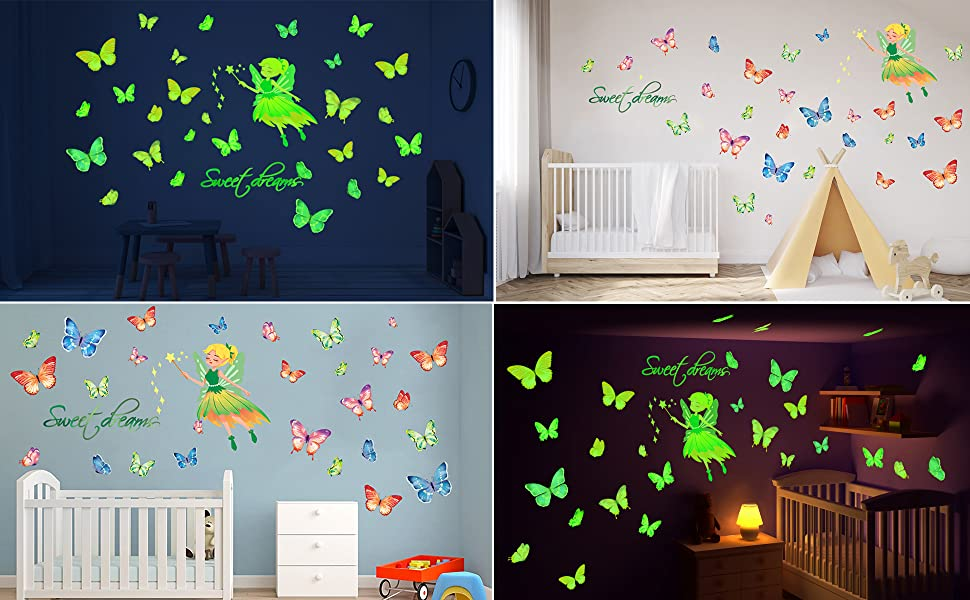 glow in the dark stars butterfly wall decals