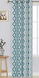 Lattice Printed Blackout Window Curtain with Grommet