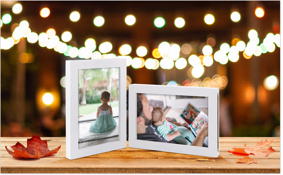 painted painting wood wooden picture frames photo frame 4x6 5x7 display on desk stand on table