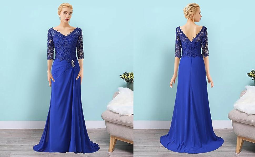 v neck mother of the bride dress