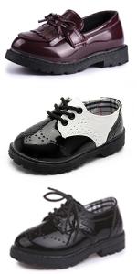 Girl's Slip-on Oxford School Uniform Dress Shoe Princess Performance Bow Loafer Flats