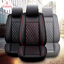 INCH EMPIRE Leather car seat cover black with red line universal fit car seat cushion