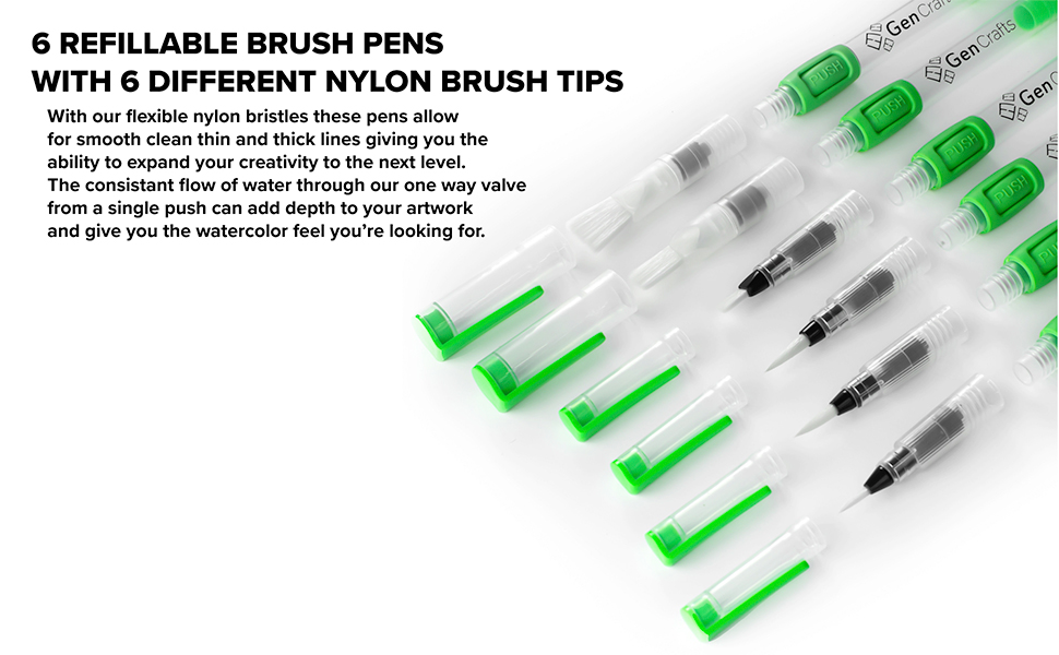 6 Different nylon brush tips for any art piece