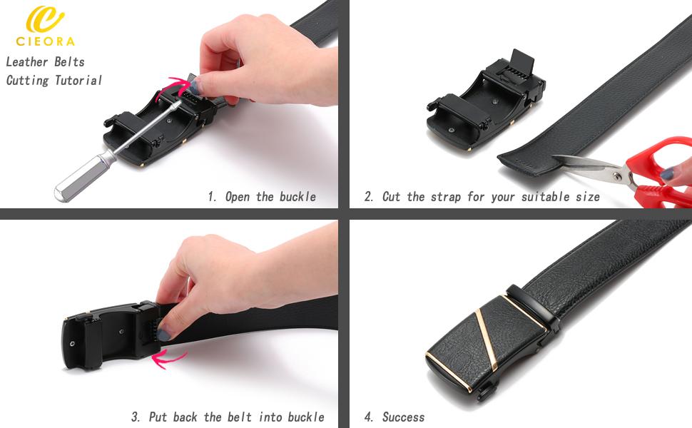 CIEORA Men's Dress Belt Adjustable Genuine Leather Ratchet with Automatic Buckle
