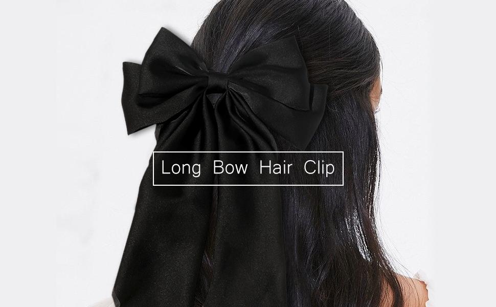 Long Bow Hair Clip Black