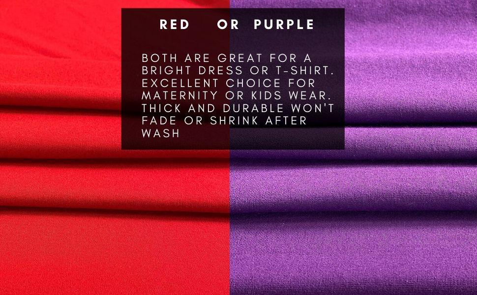 cotton lycra fabric 12 oz red purple