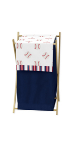 Red, White and Blue Baby Kid Clothes Laundry Hamper for Baseball Patch Sports Collection