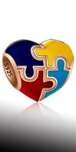 Heart-shaped Autism Awareness Charms fits Pandora Style Bracelet