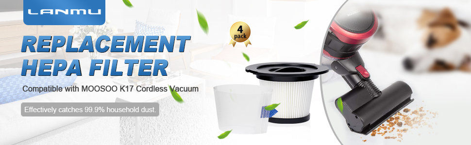 Replacement HEPA Filter Compatible with MOOSOO K17