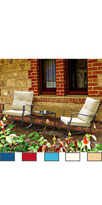 3 PCS Patio Rocking Chair Set