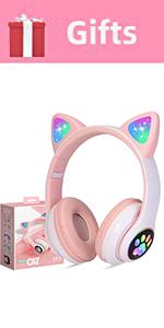 Kids Headphones Wireless Cat Light up Girls Bluetooth Microphone Headset Online Study Pink