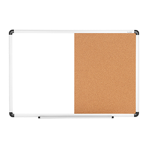 Dry Erase/Cork Board Combination with Aluminum Frame