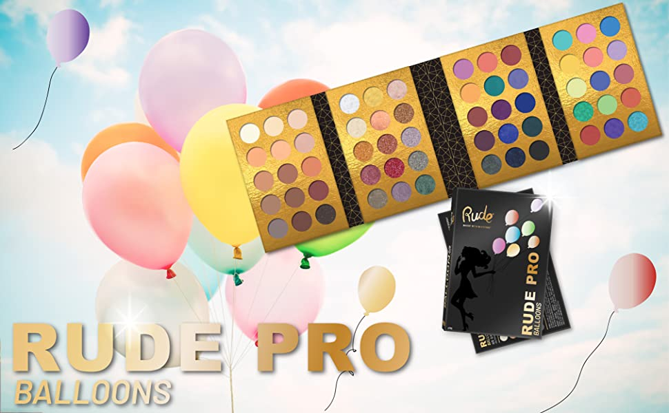 rude cosmetics makeup eyeshadow face palette eyes matte shimmer pro balloons