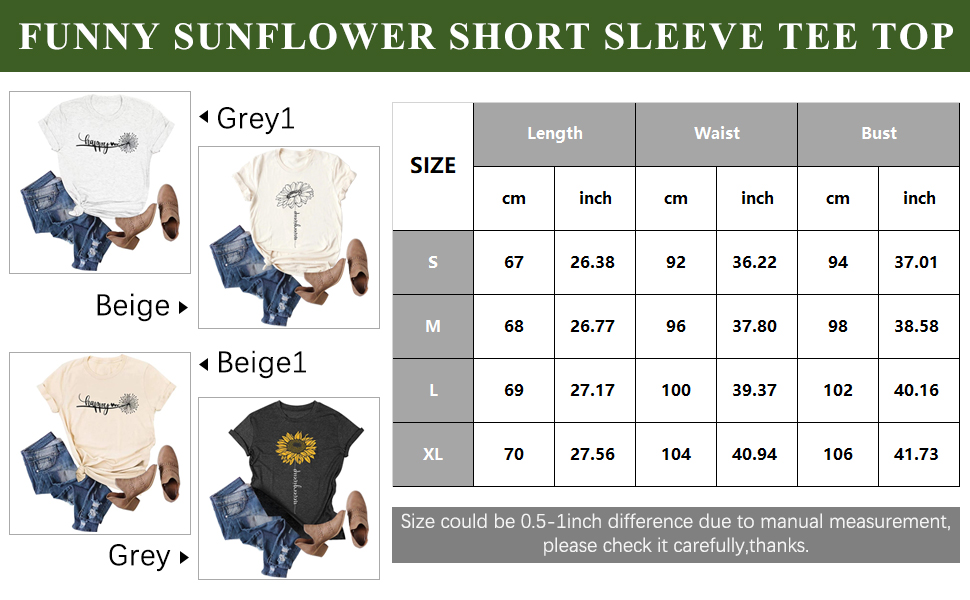 Women Short Sleeve Sunflower T-Shirt Cute Funny Graphic Tee Teen Girls Casual Shirt Top