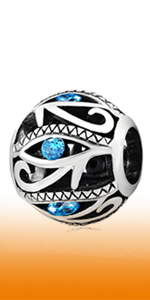 925 Sterling Silver Aqua Blue Evil Eye Charms fit Pandora Style Bracelet