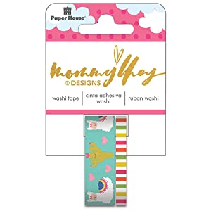 Paper House Productions Mommy Lhey Glama Llama Set of 2 Foil Accent Washi Tape Rolls