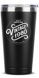 1980 40th Birthday Gifts for Women Men - 16 oz Black Insulated Stainless Steel Tumbler w/Lid