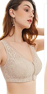Aivtalk Women's Zip Front Lace Bra