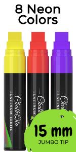 Jumbo Window Markers - Pack of 8 Neon Color Pens