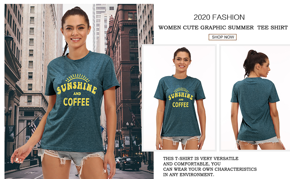 Sunshine Tshirts Funny Summer Graphic Tee Shirts for Women Letter Print Funny Coffee Tee Shirts Top