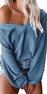 blue waffle knit sweater