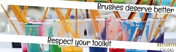 paint brush set with case