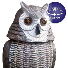 head turn fake owl garden protection pest control scarecrow light eyes statue