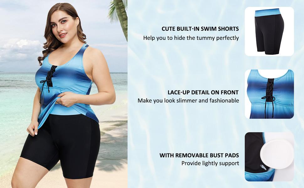 Hanna Nikole Women Tankini Swimsuit Plus Size Gradient Color Swimwear with Boyshorts