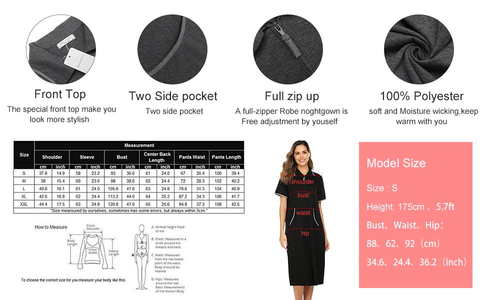 Women Short Sleeve Housecoat Duster Lounger Robe