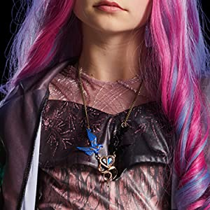 audrey costume closeup, movie villain, pink jumpsuit, necklace closeup, sheer sleeves