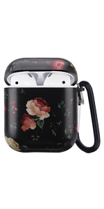 airpods case flower black