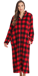 zip front lounger robe for women duster housecoat pajama loungewear buffalo plaid check