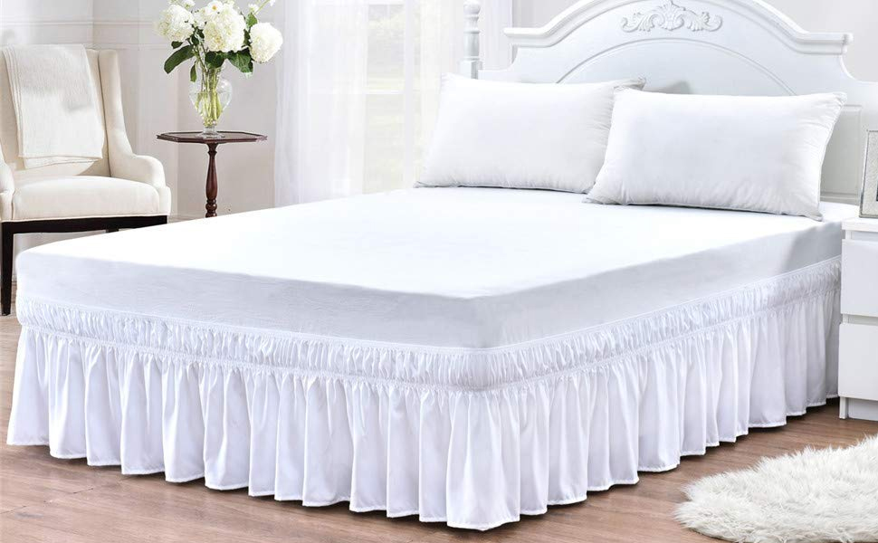 Wrap Around Bed Skirt-Polyester/Microfiber Elastic Dust Ruffle Three Fabric Sides Silky Soft Wrinkle